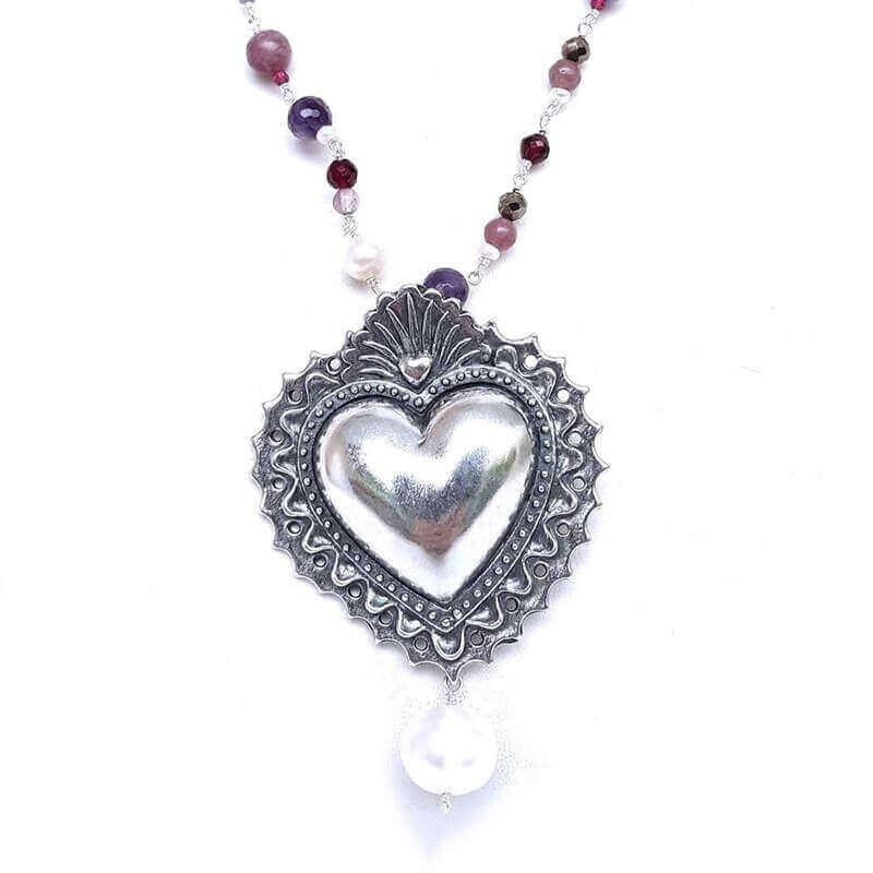 joyas mexicanas gabriela sanchez collar largo corazon bordado