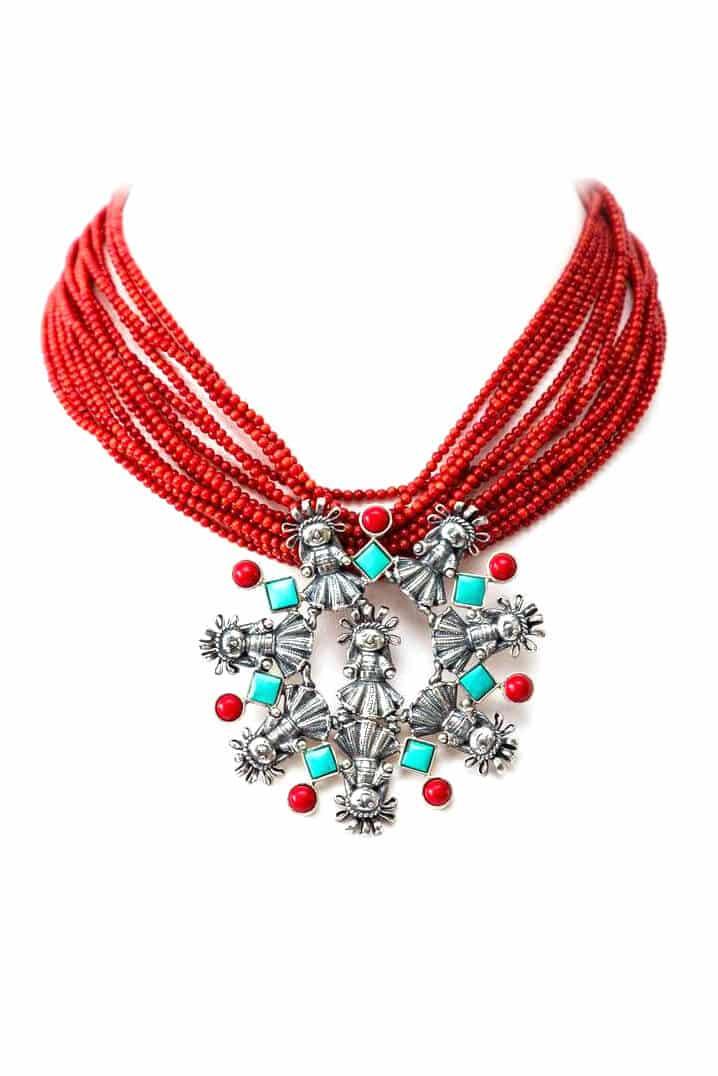joyas mexicanas gabriela sanchez collar coral con munecas mediana con biseles collar gabriela sanchez