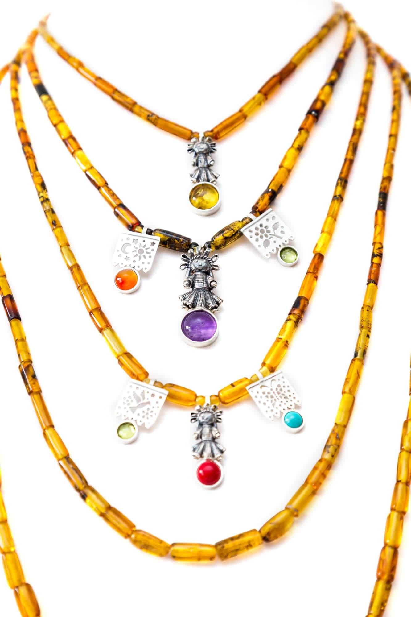 joyas mexicanas gabriela sanchez collar niveles de ambar con munecas collar gabriela sanchez