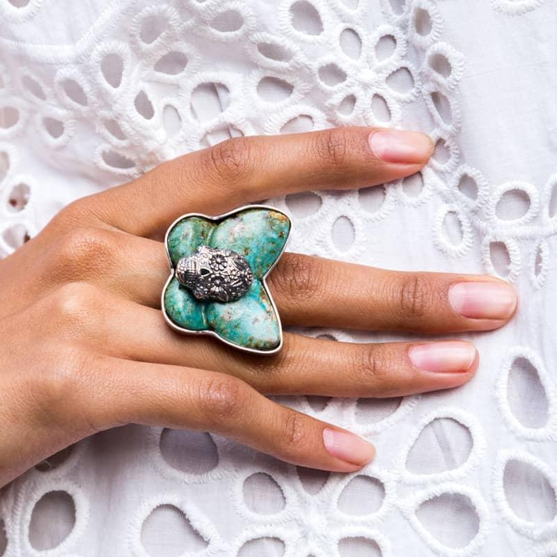 joyas mexicanas gabriela sanchez anillo calavera de plata mariposa 1