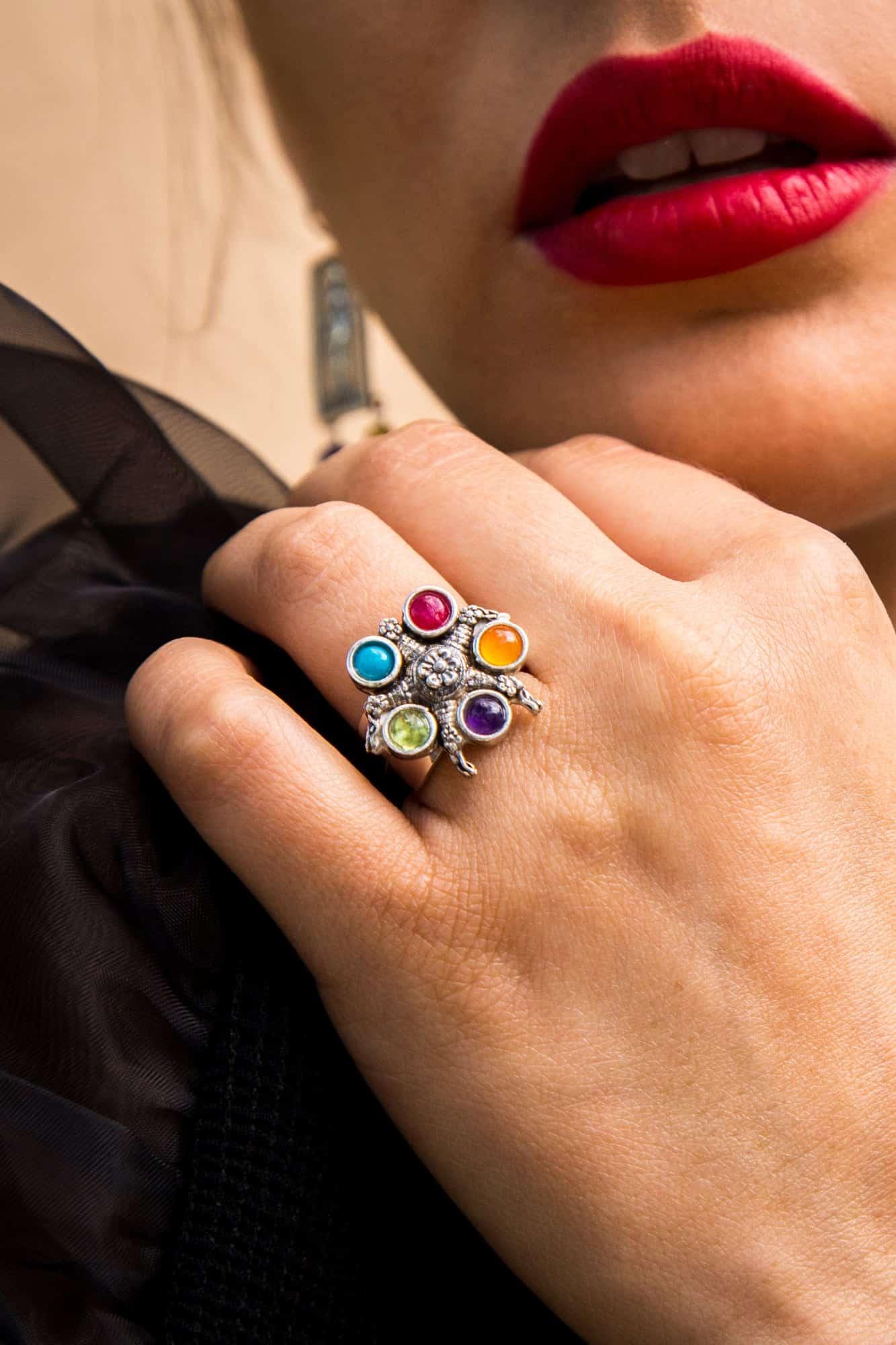 joyas mexicanas gabriela sanchez anillo pinata chica de colores