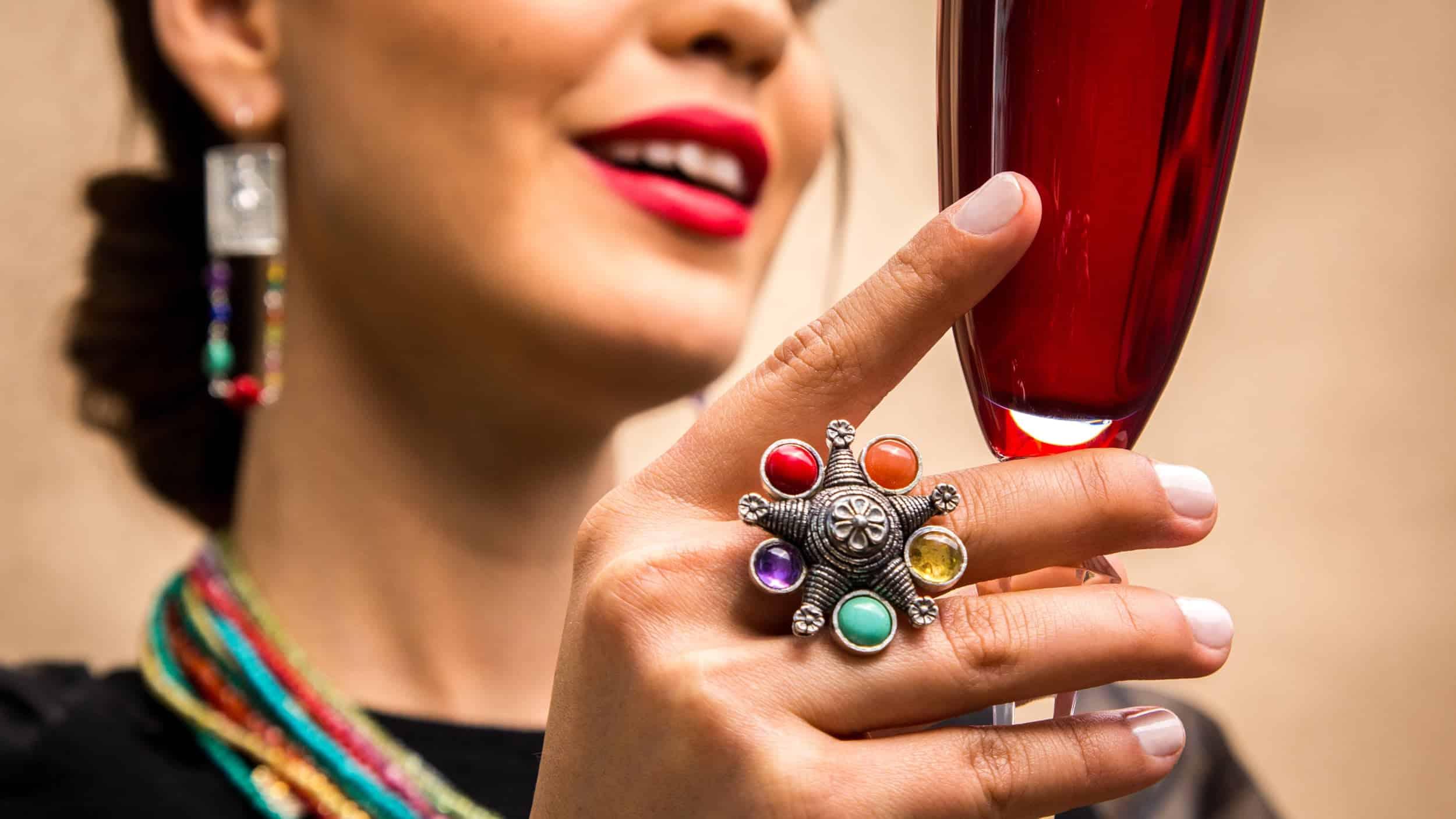 joyas mexicanas gabriela sanchez anillo pinata de colores