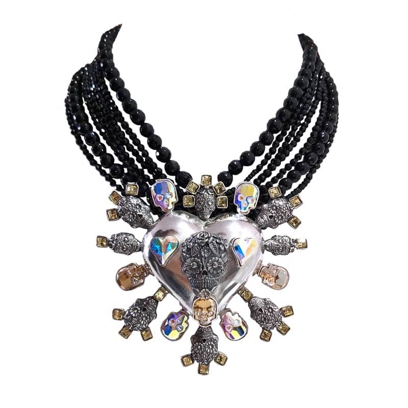 joyas mexicanas gabriela sanchez collar calaveras de plata resplandeciente